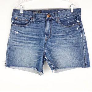 J. Crew Indigo Denim Frayed Hem High-Rise Shorts